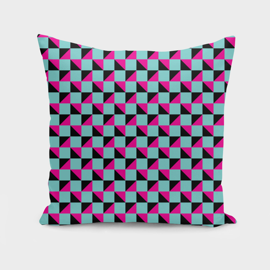 Aqua Pink and Black Geometric Pattern