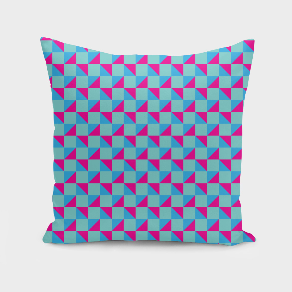 Aqua Pink and Blue Geometric Pattern