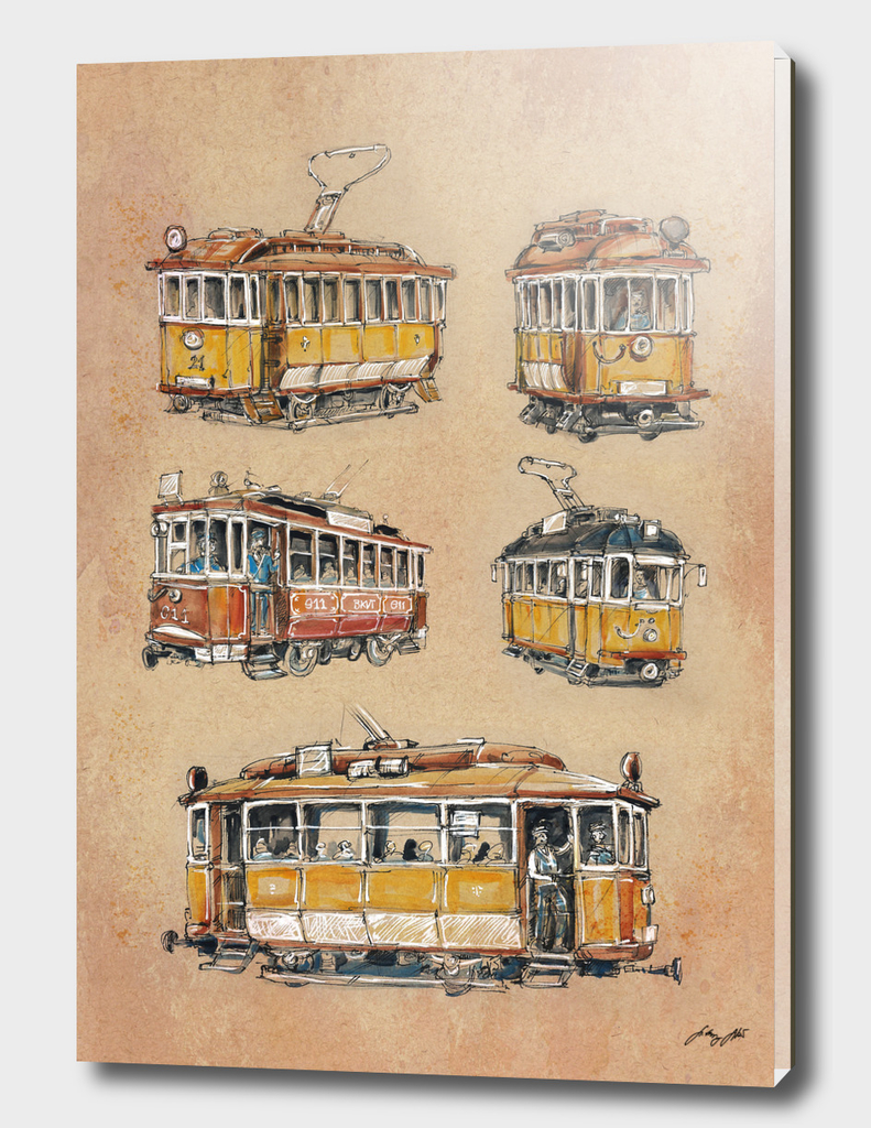 Old vintage yellow Trams
