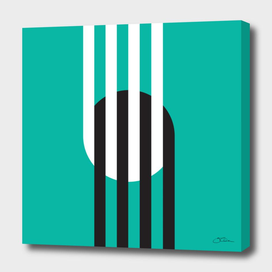 Circle & Stripes on Turquoise