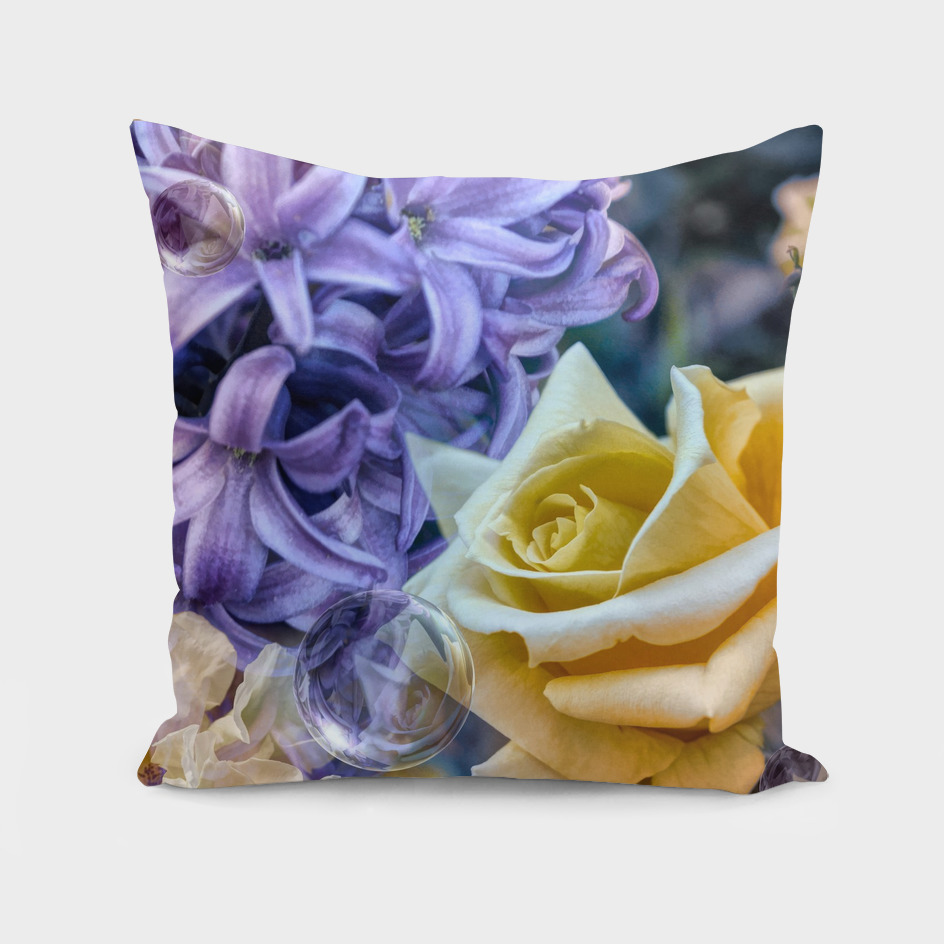 Roses And Hyacinths  GOLD PURPLE