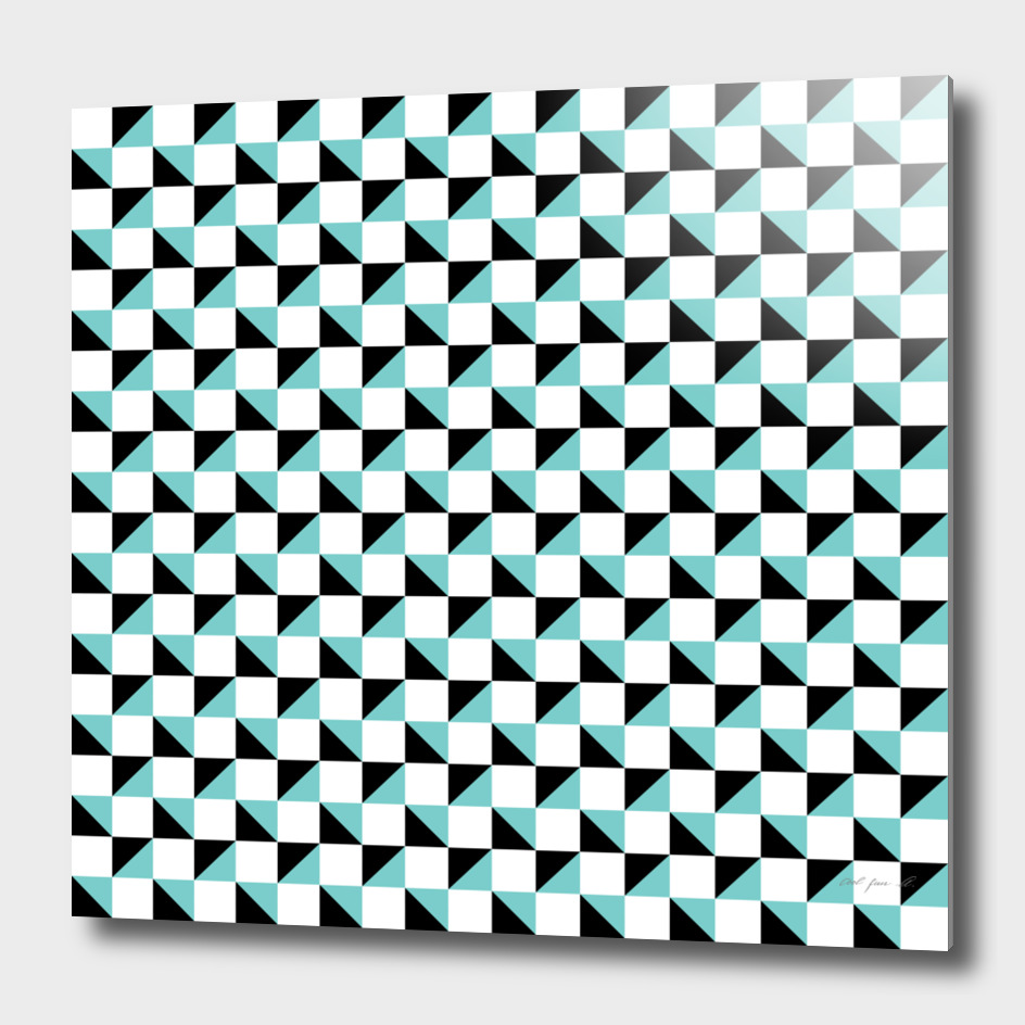 White Aqua and Black Geometric Pattern