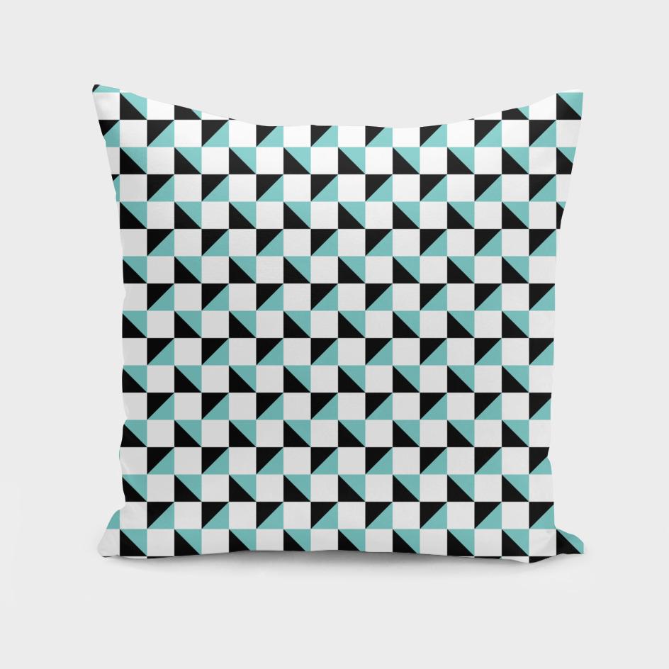 White Aqua and Black Geometric Pattern
