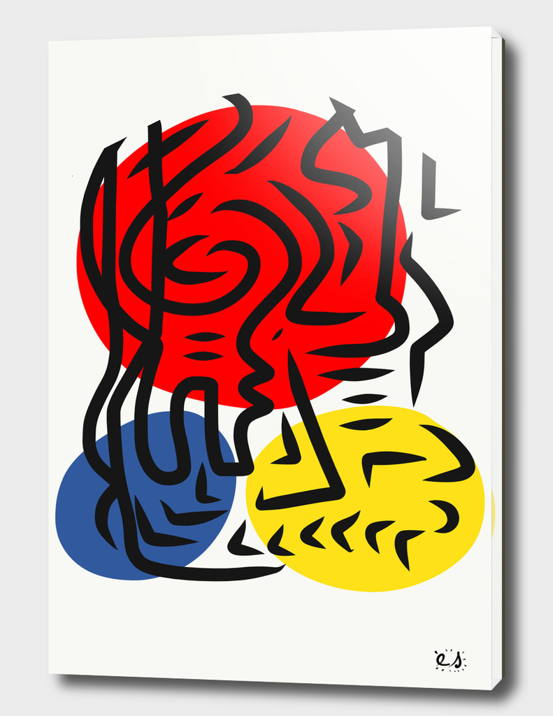 Abstract Street Graphic Red Blue Yellow Art