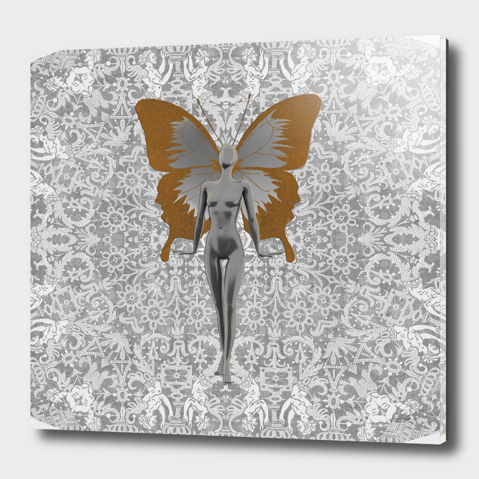 Silver Fairy On Silver Leaf
