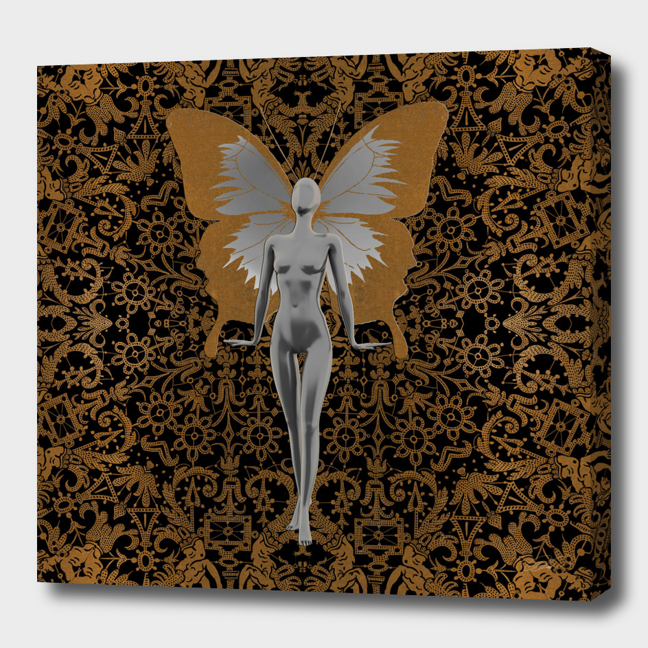 Silver Fairy On Gold Leaf
