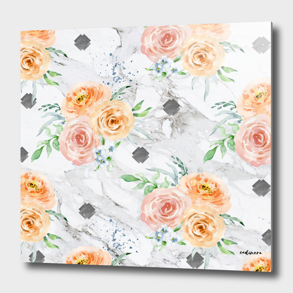 Beautiful pale flowers patter on marble