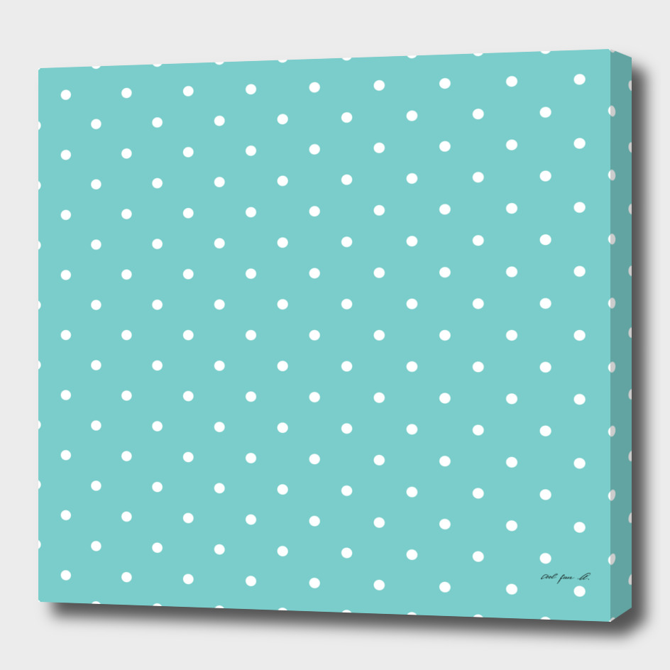 Small White Polka Dots with Aqua Background
