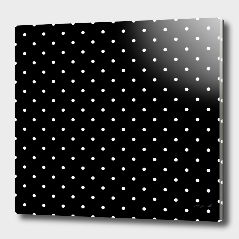 Small White Polka Dots with Black Background