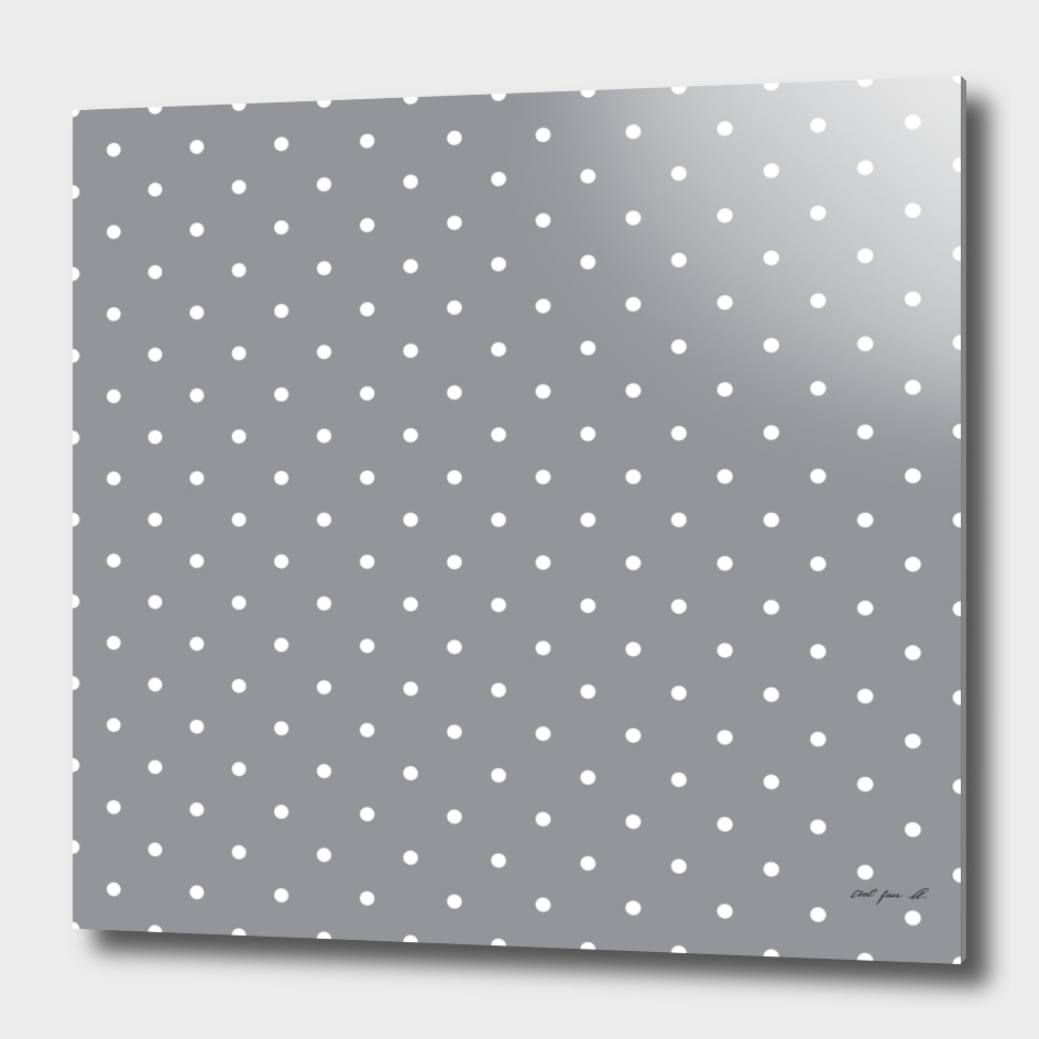 Small White Polka Dots with Grey Background