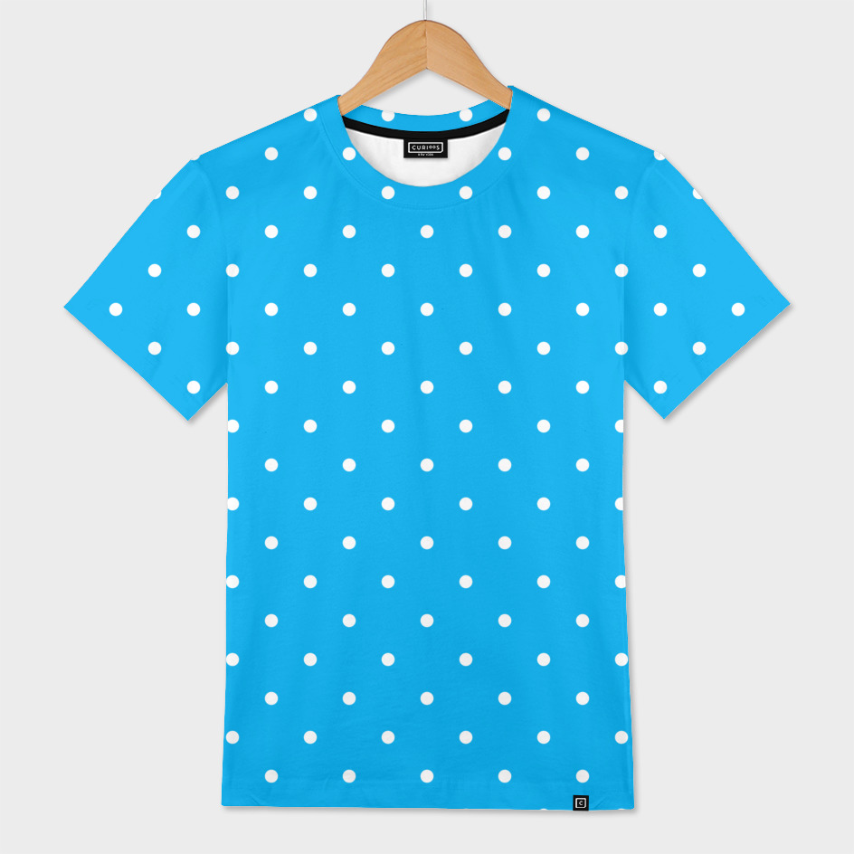 Small White Polka Dots with Blue Background