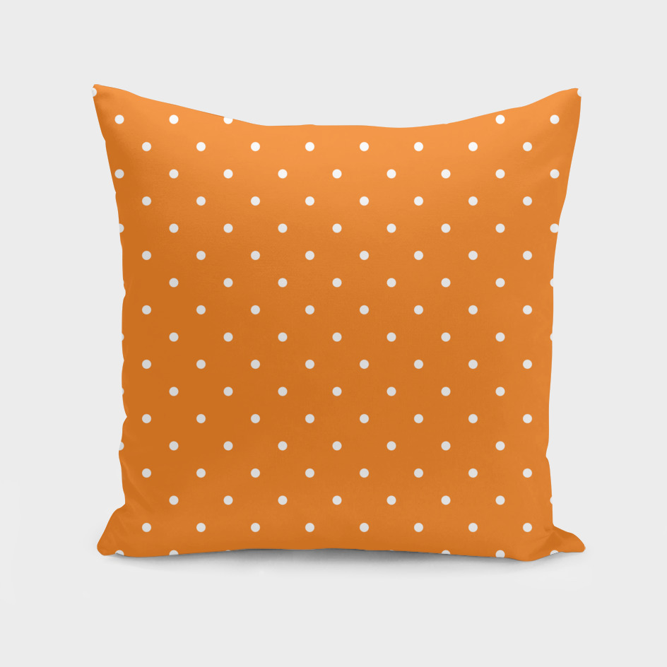 Small White Polka Dots with Orange Background