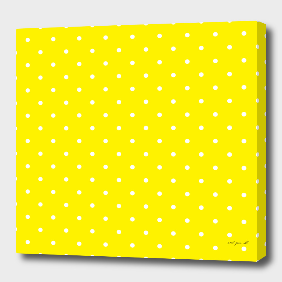 Small White Polka Dots with Yellow Background