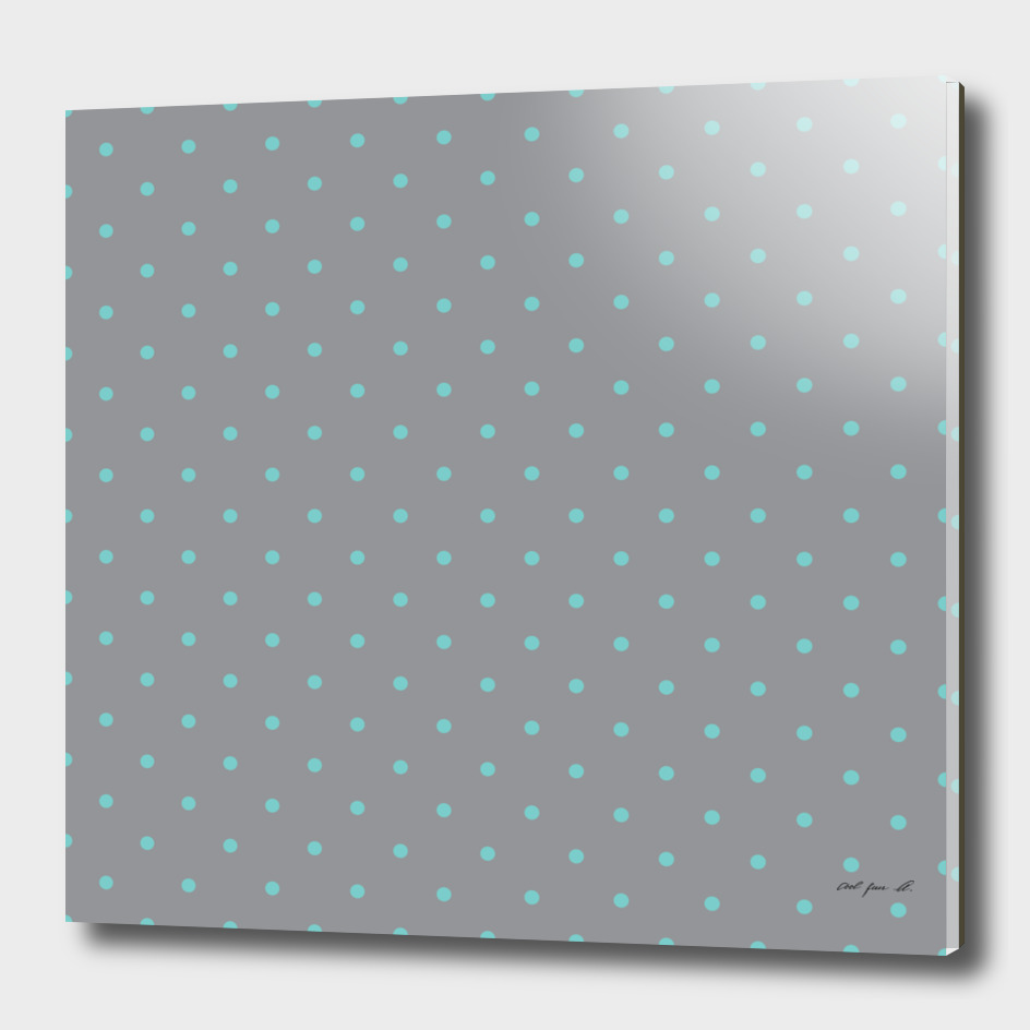 Small Aqua Polka Dots with Grey Background