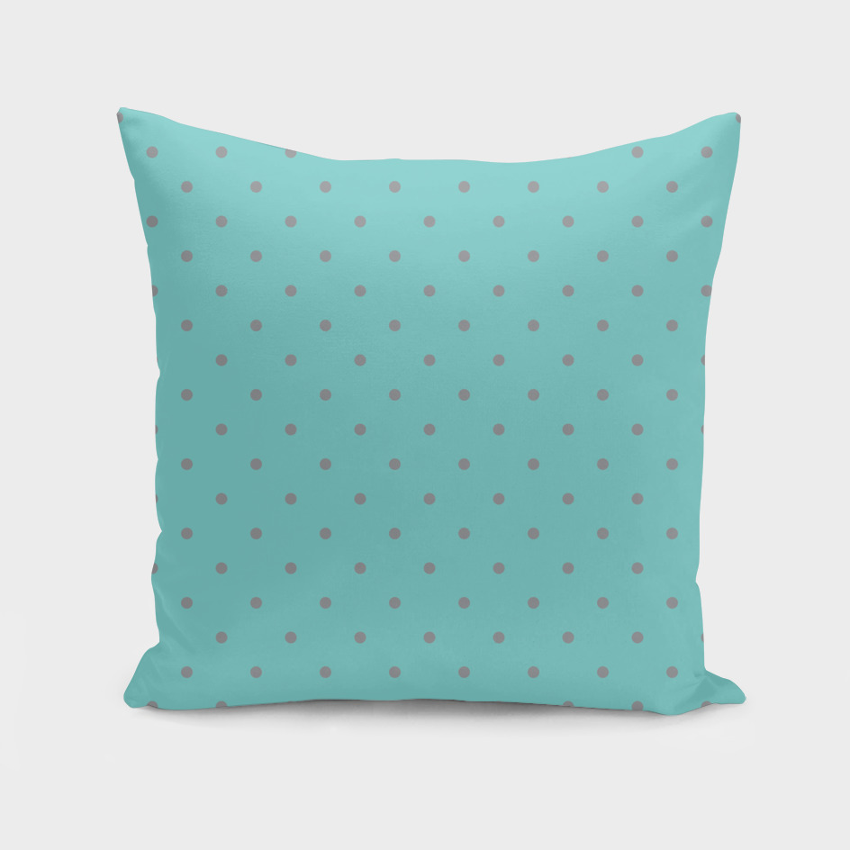 Small Grey Polka Dots with Aqua Background