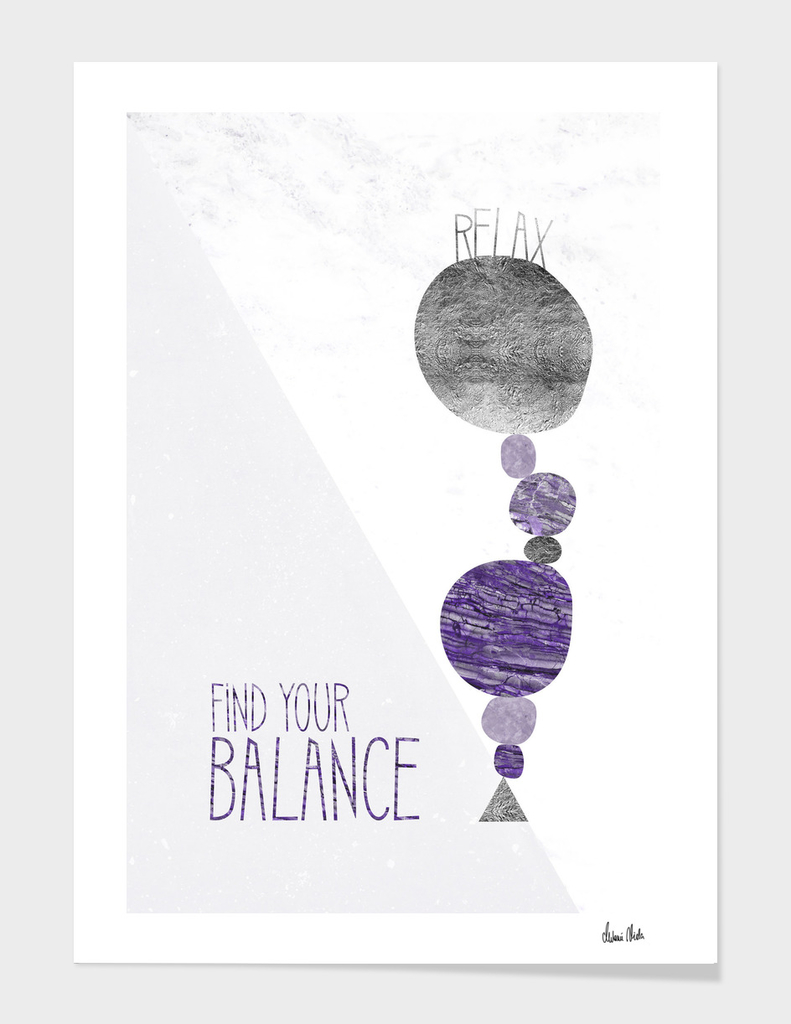 Graphic Art RELAX - FIND YOR BALANCE   ultraviolet
