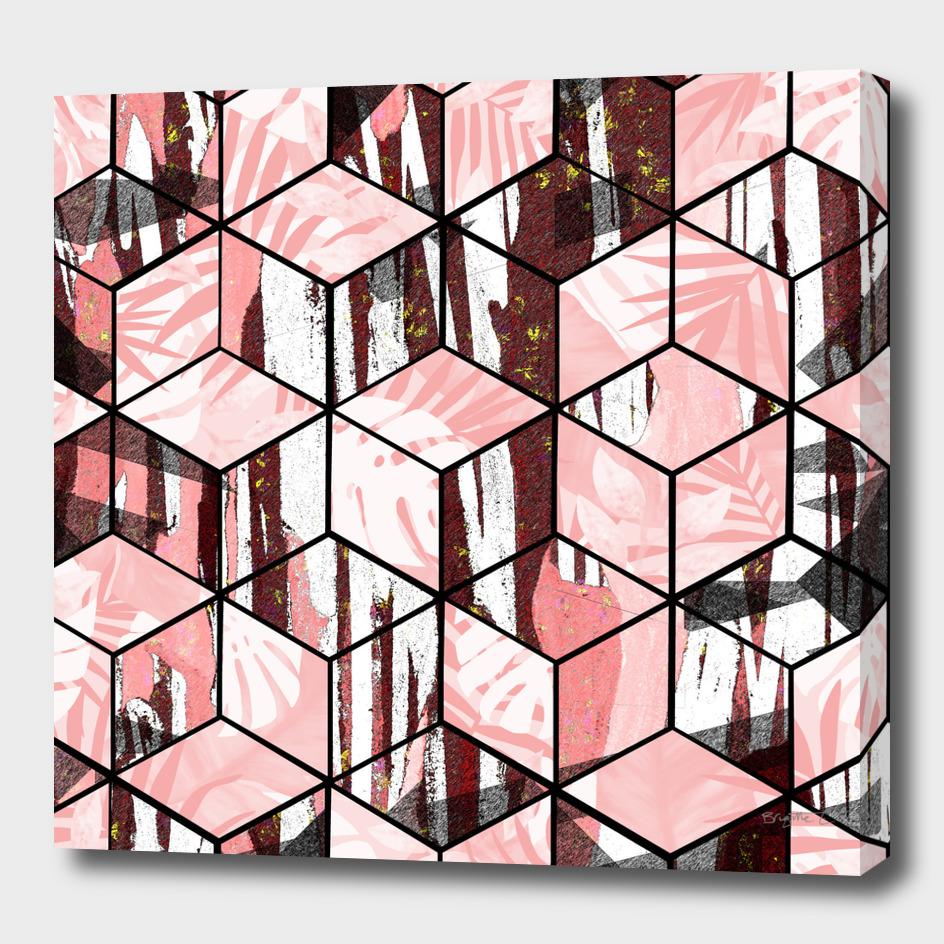 Tropical Pastel Geometric Cubes Design
