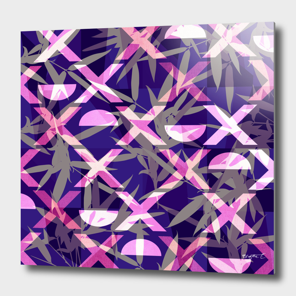 Fresh Vibrant Purple Geometric Bamboo Design