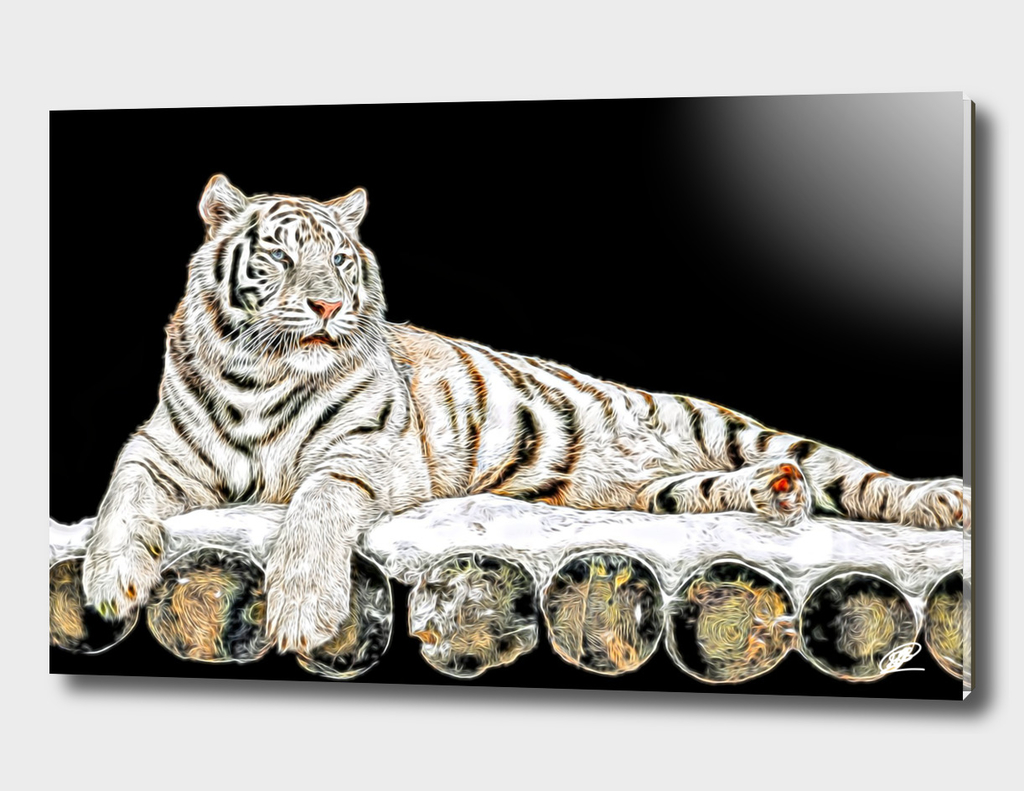 Tiger on wooden stage oil painting simulation on black