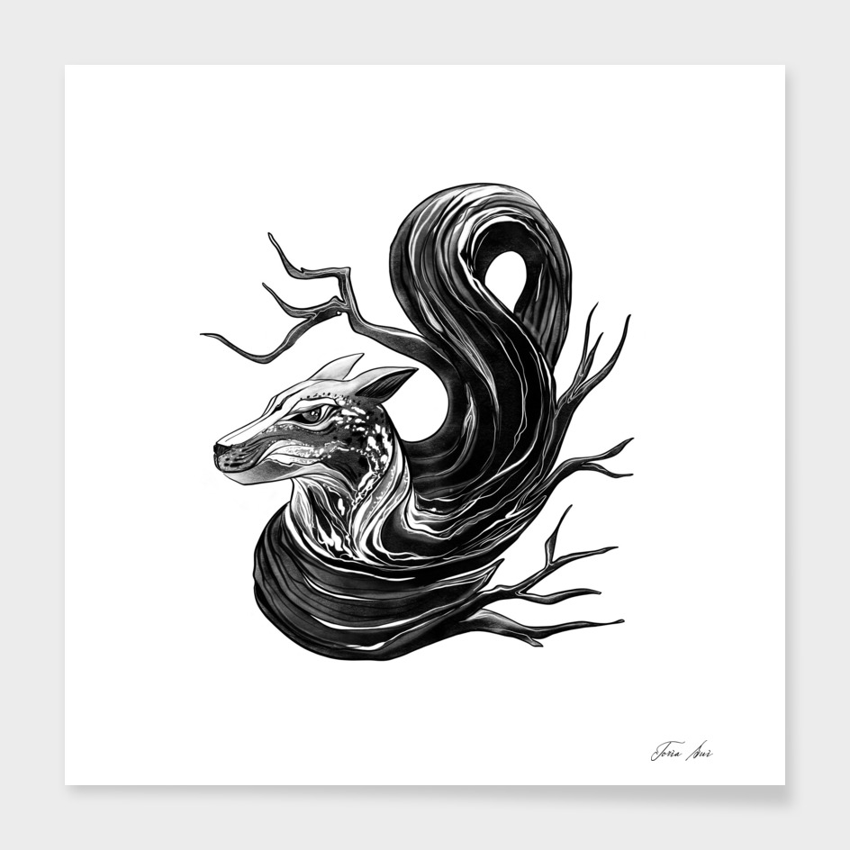 """""""Fox and Wood"""" ink graphic design"""