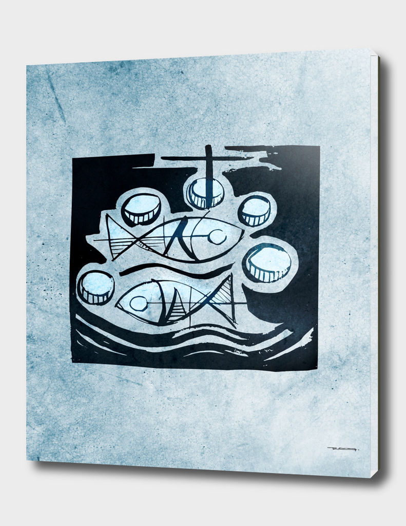 Five bread and two fish vector illustration