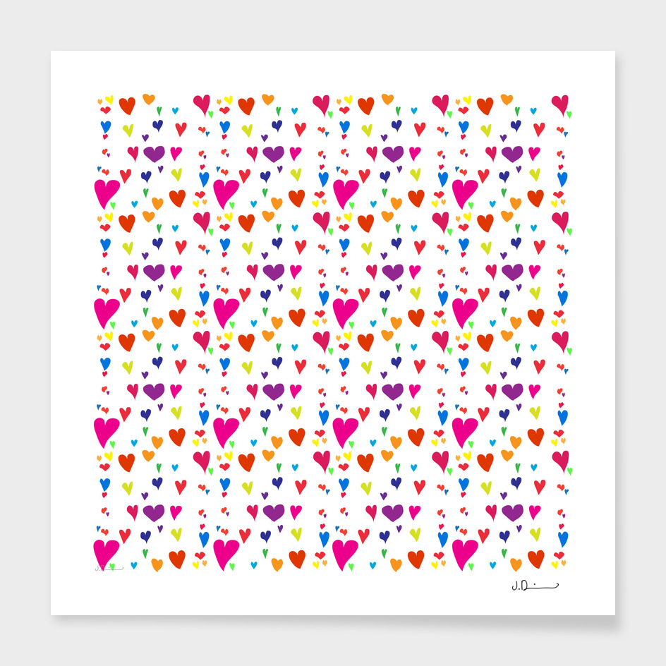 Imperfect Hearts Pattern - Original/White