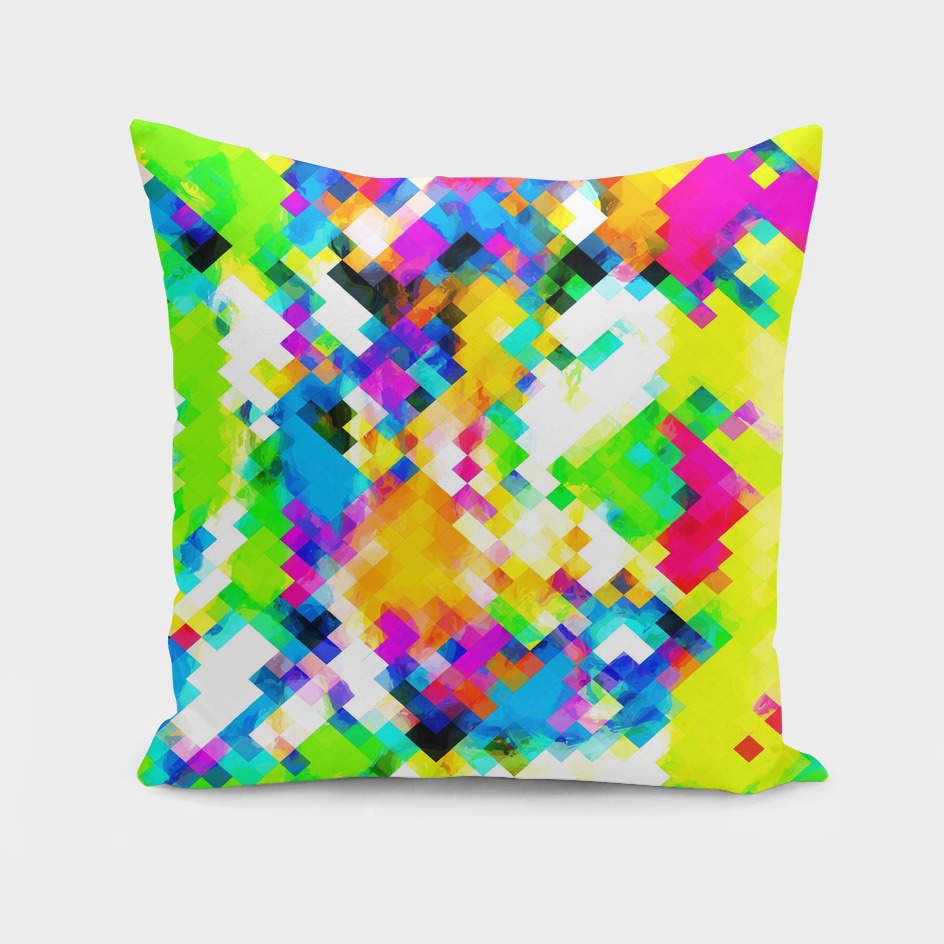 geometric square pixel pattern abstract in yellow green blue