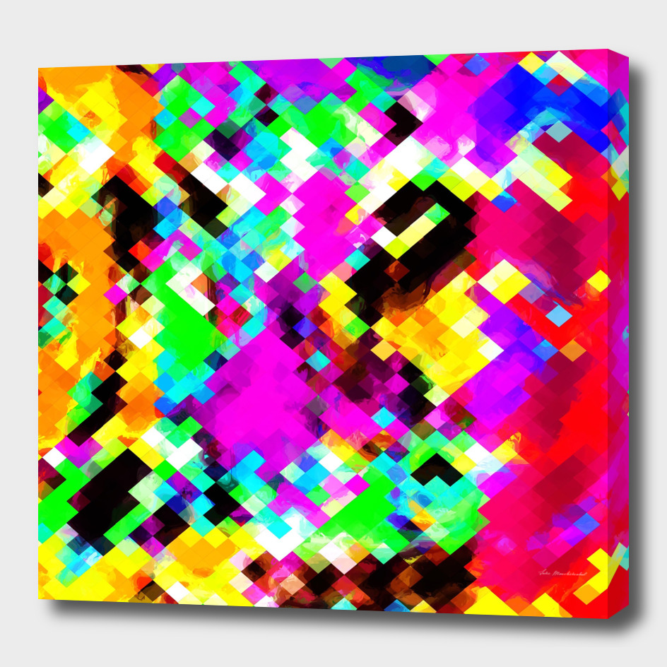 geometric square pixel pattern abstract in pink red purple