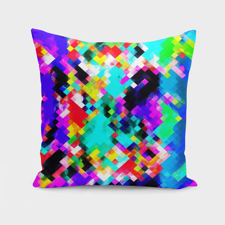 geometric square pixel pattern abstract in blue green pink