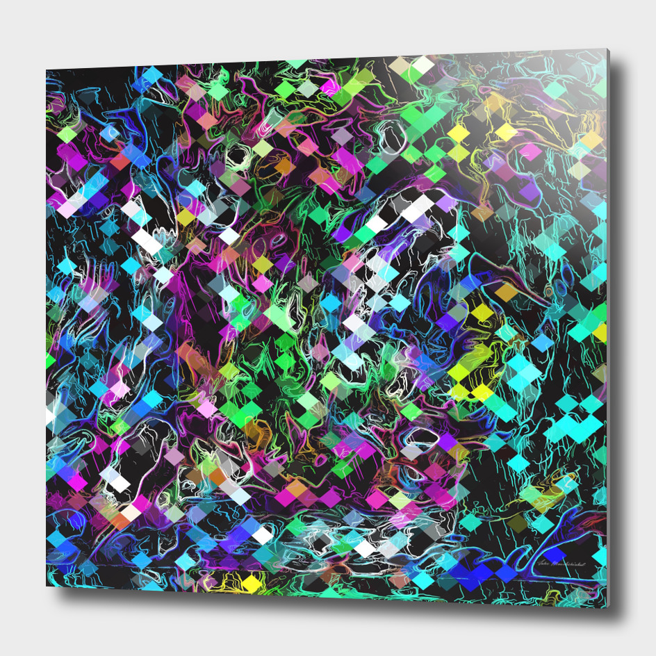 psychedelic geometric square pixel pattern abstract in blue