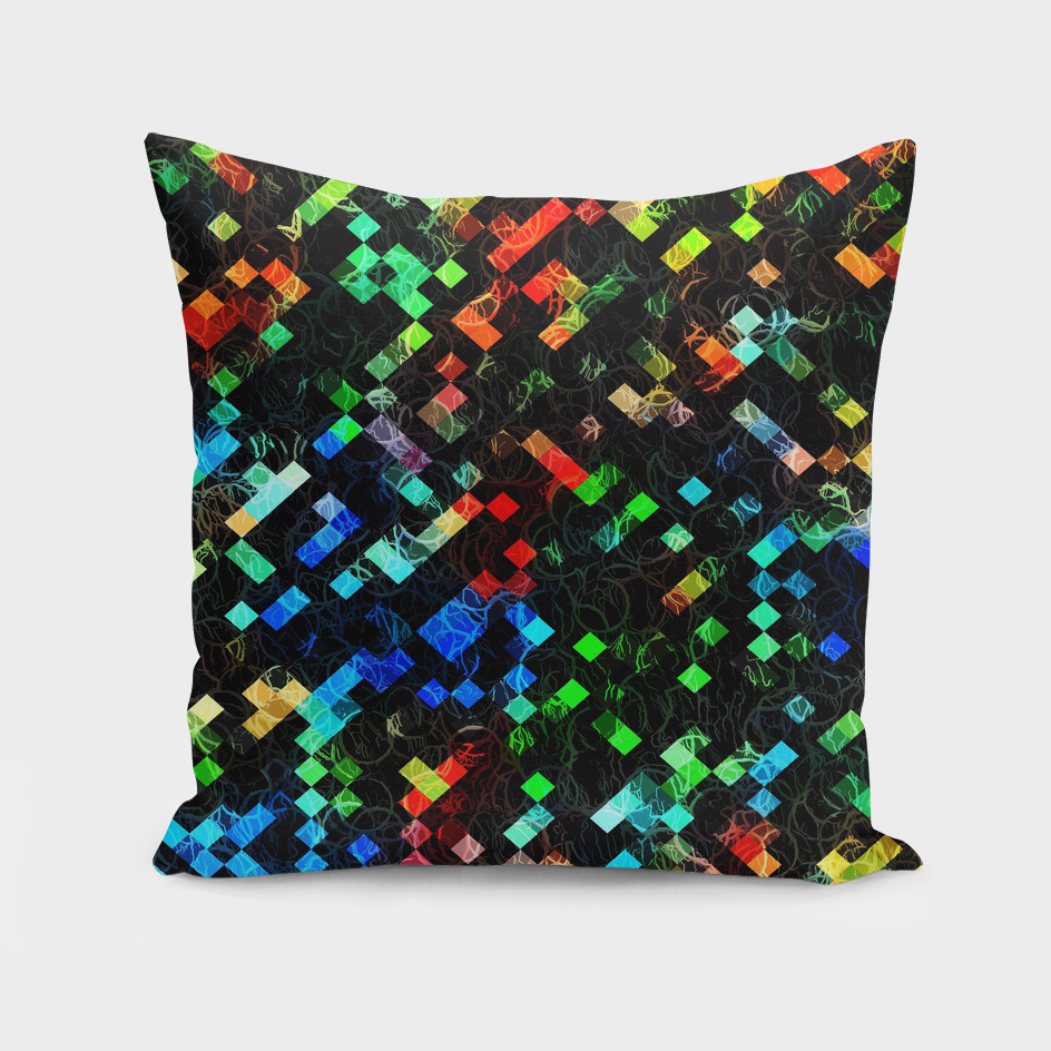 geometric square pixel pattern abstract in orange blue green