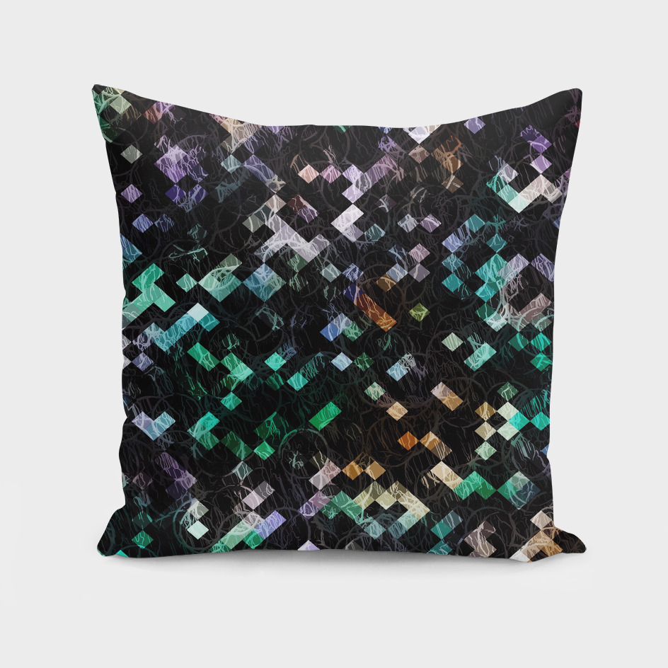 geometric square pixel pattern abstract in green brown