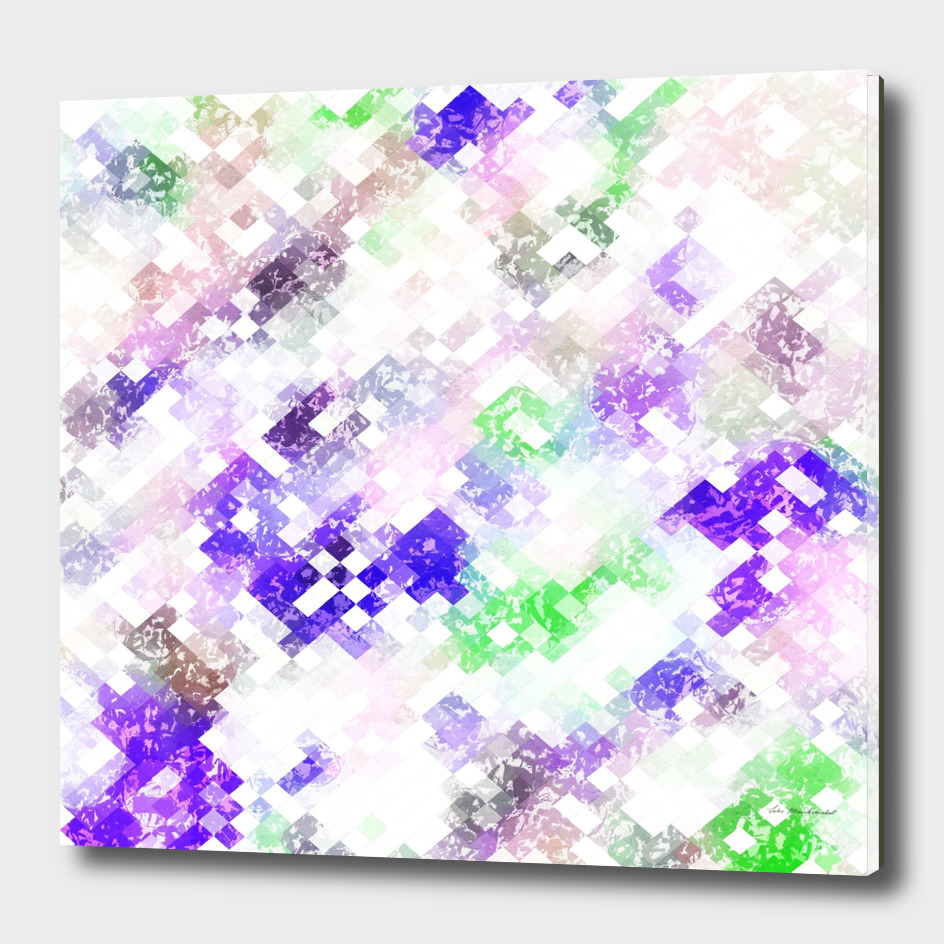 geometric square pixel pattern abstract in purple pink green