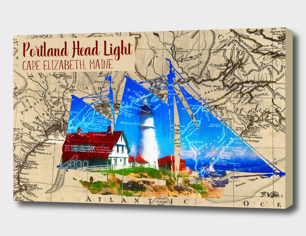 Portland Head Light with Map