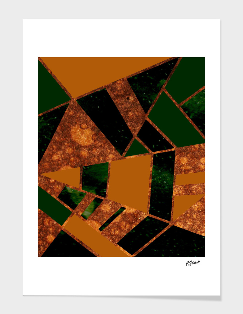#455 Geometric Design in Gold and Green
