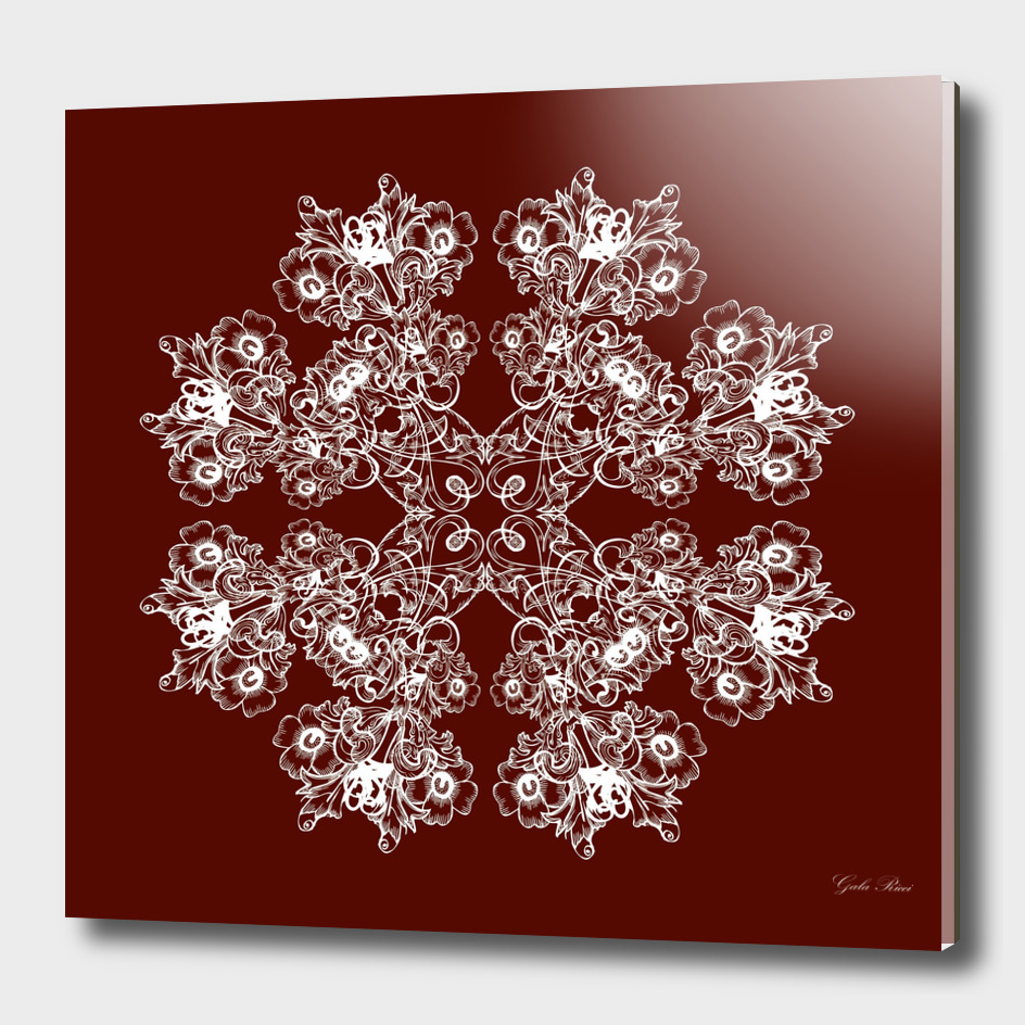 Baroque style floral Maroon pattern