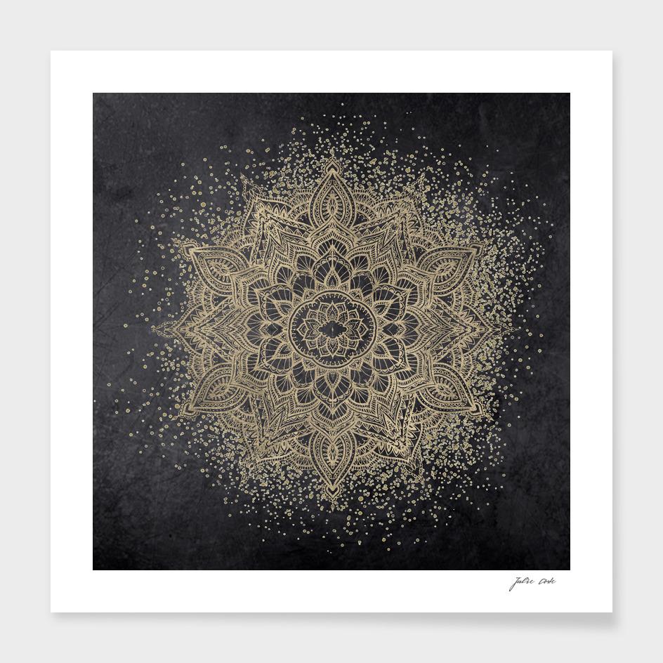 Golden sparkling glitter mandala