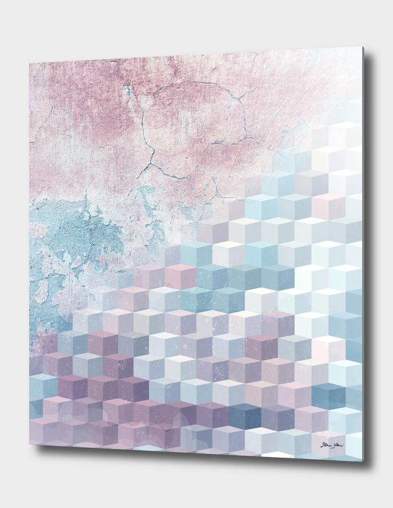 Distressed Cube Pattern - Pink and Blue