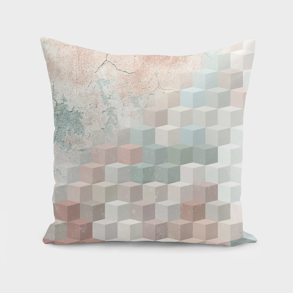 Distressed Cube Pattern - Nude, Turquoise and Seashell
