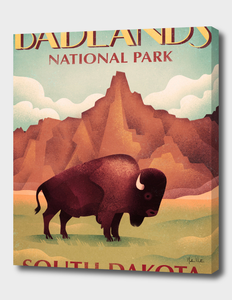 Bison Vintage Travel Poster Badlands