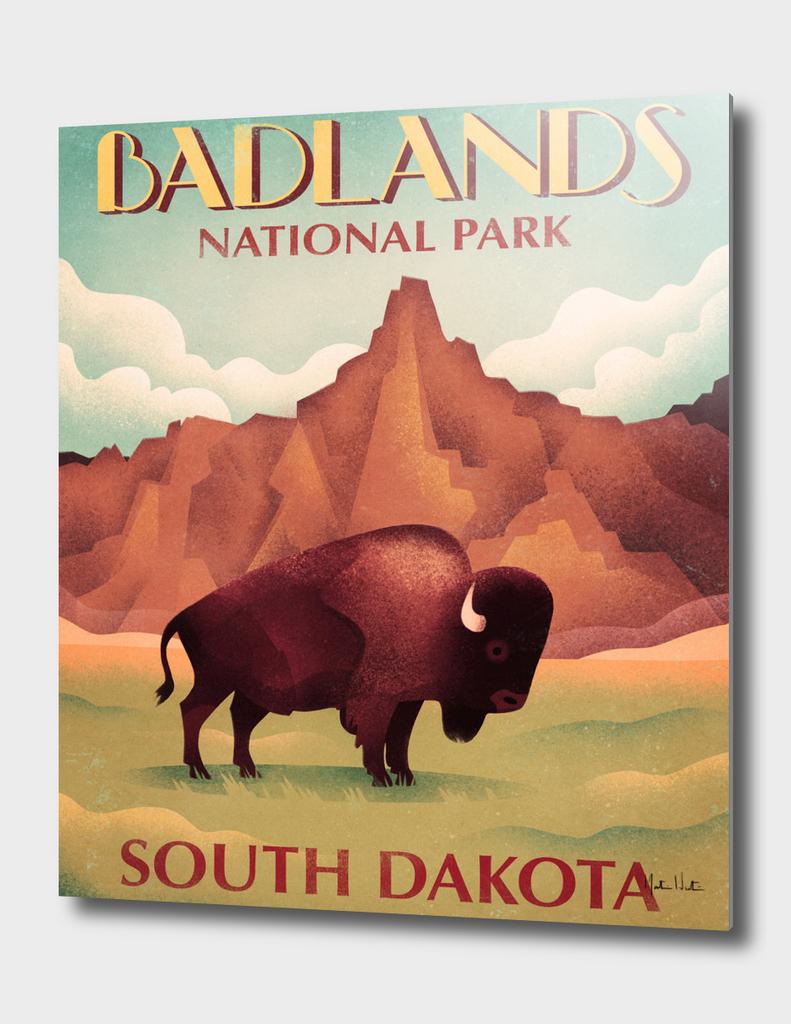 Bison Vintage Travel Poster Badlands