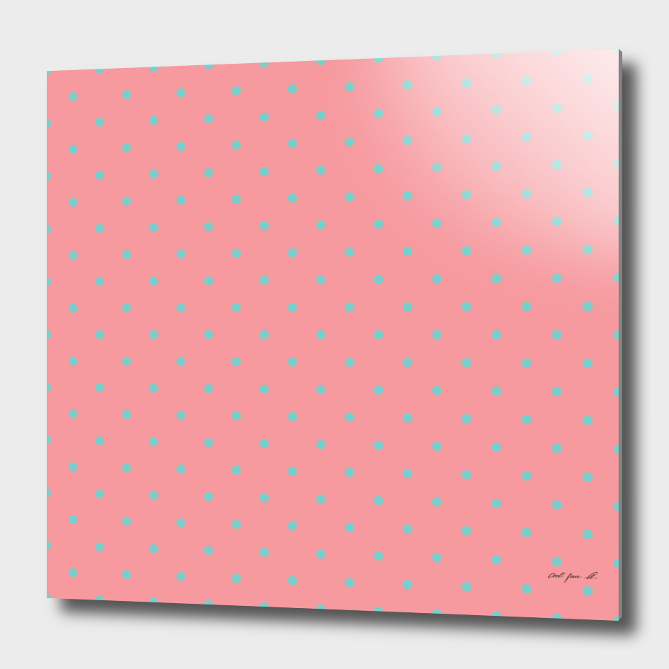 Aqua Dots with Coral Pink Background