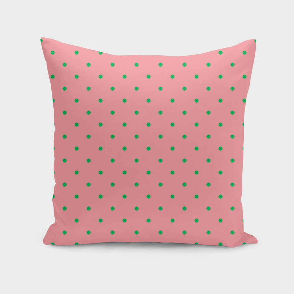 Green Dots with Coral Pink Background