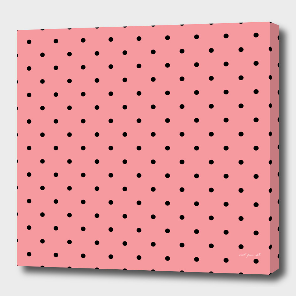Black Dots with Coral Pink Background