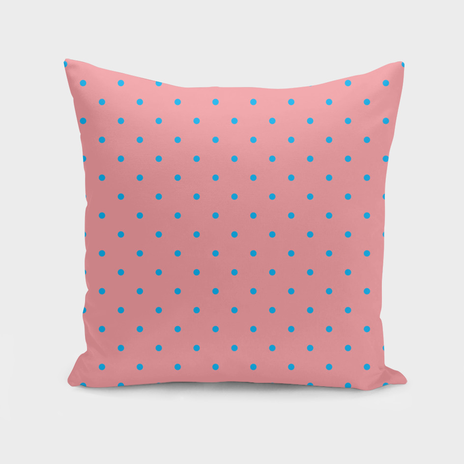 Blue Dots with Coral Pink Background