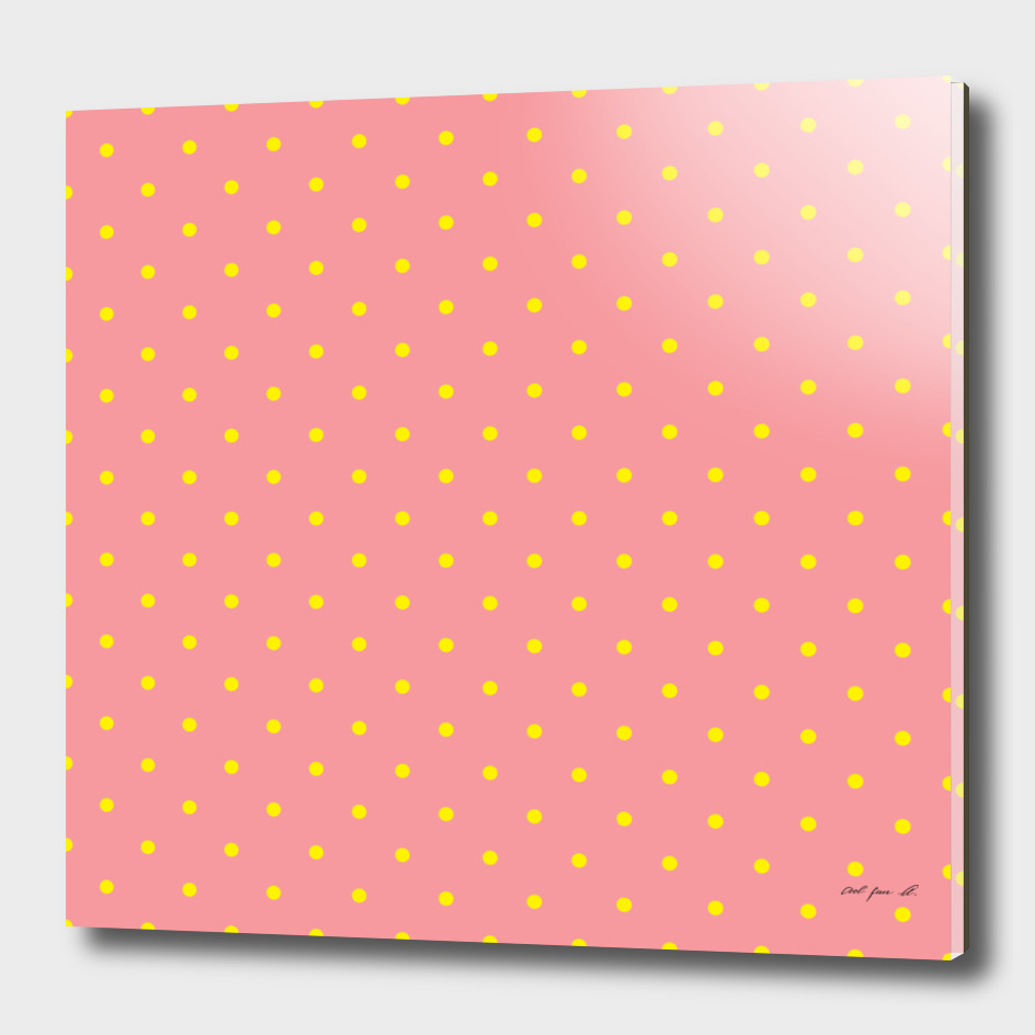 Yellow Dots with Coral Pink Background