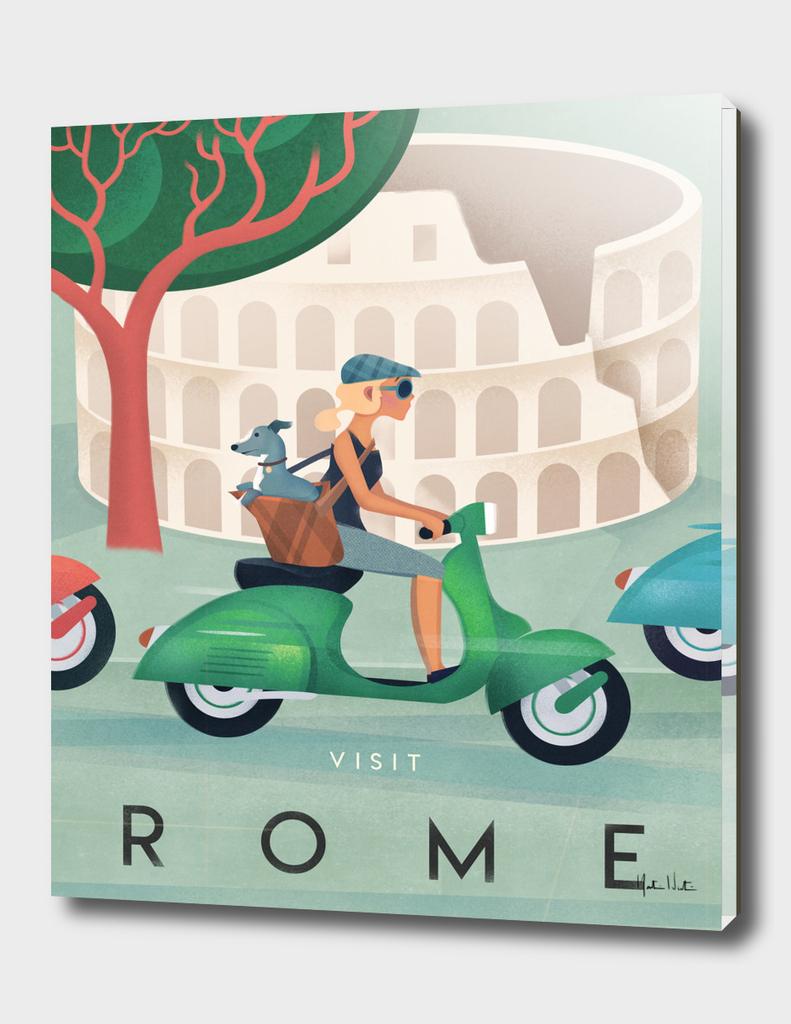 Visit Rome Vintage Art