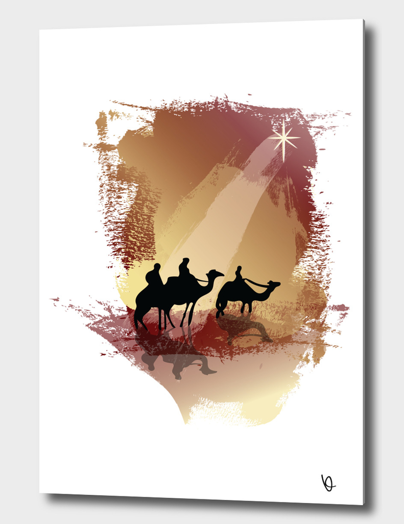 bible story - three wise men, camels, and star