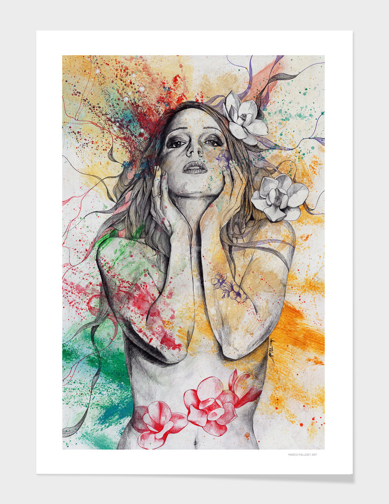 The Withering Spring I   nude tattoo woman portrait