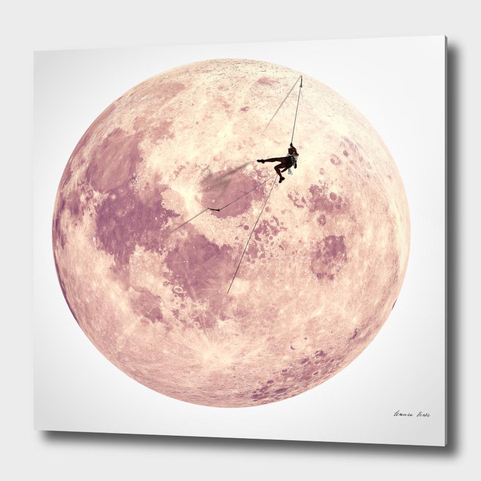 Pink moon climbing